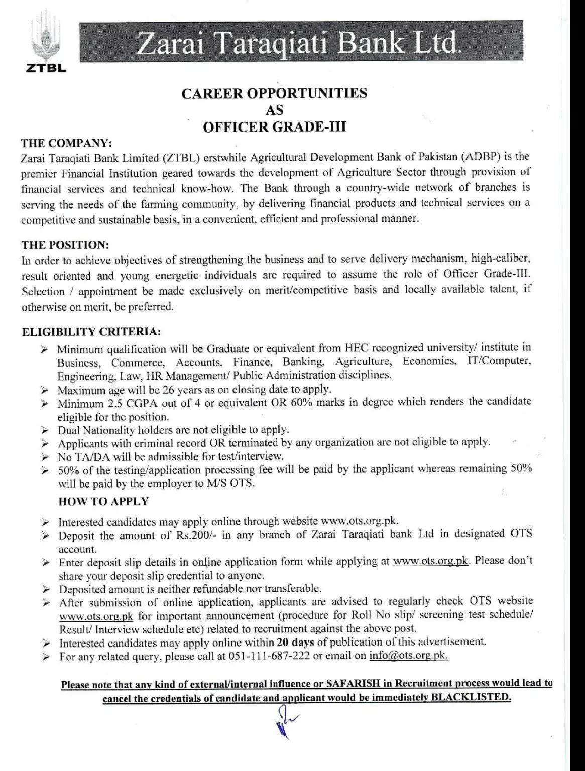 300 Jobs In Zarai Taraqiati Bank ( ZTBL) Latest 2020