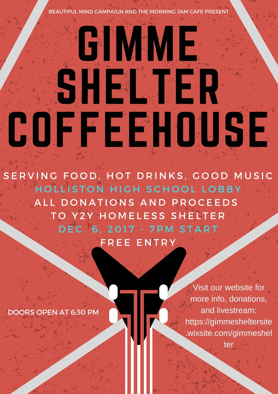 Holliston High News: Gimme Shelter Coffeehouse Fundraiser