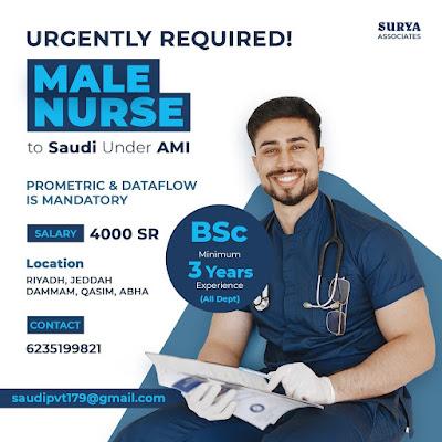 Urgently Required Male Nurses to Saudi Arabia