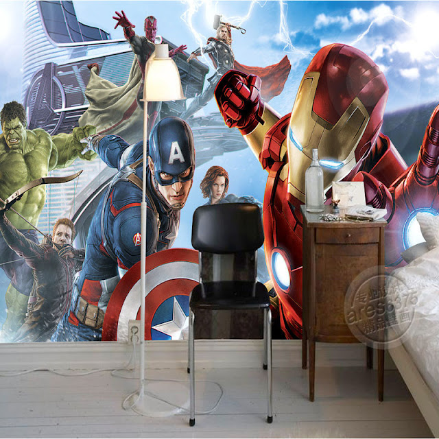 Avengers wall mural bedroom childrens room 3D marvel comics Photo Wallpaper Kids Boys super hero movie ironman captain america