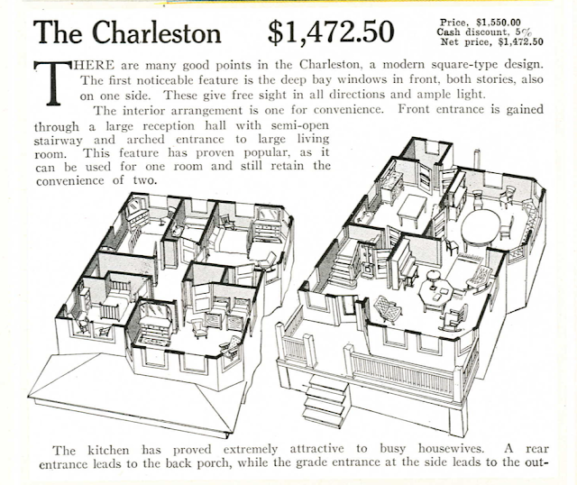 3-D effect floor plan: Aladdin Charleston, 1917 Aladdin catalog