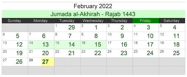 Kalender Hijriah Bulan Februari 2022 Lengkap Jadwal Puasa