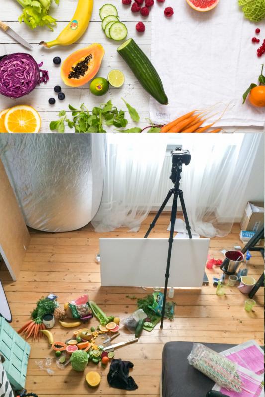 Hinter den Kulissen des Fotoshootings für fresh! 190 Smoothies, Säfte und Drinks