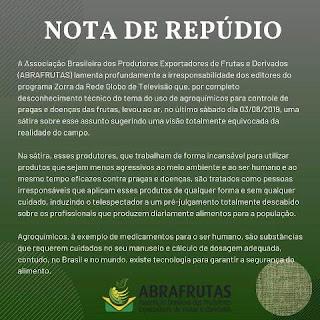 Associação de Bananicultores do Vale do Ribeira repudia programa Zorra Total da TV Globo