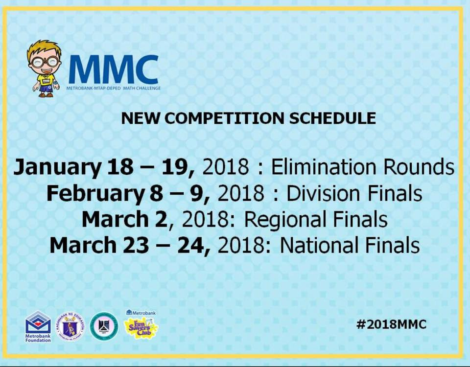 newest schedule of the 2018 metrobankmtapdeped math