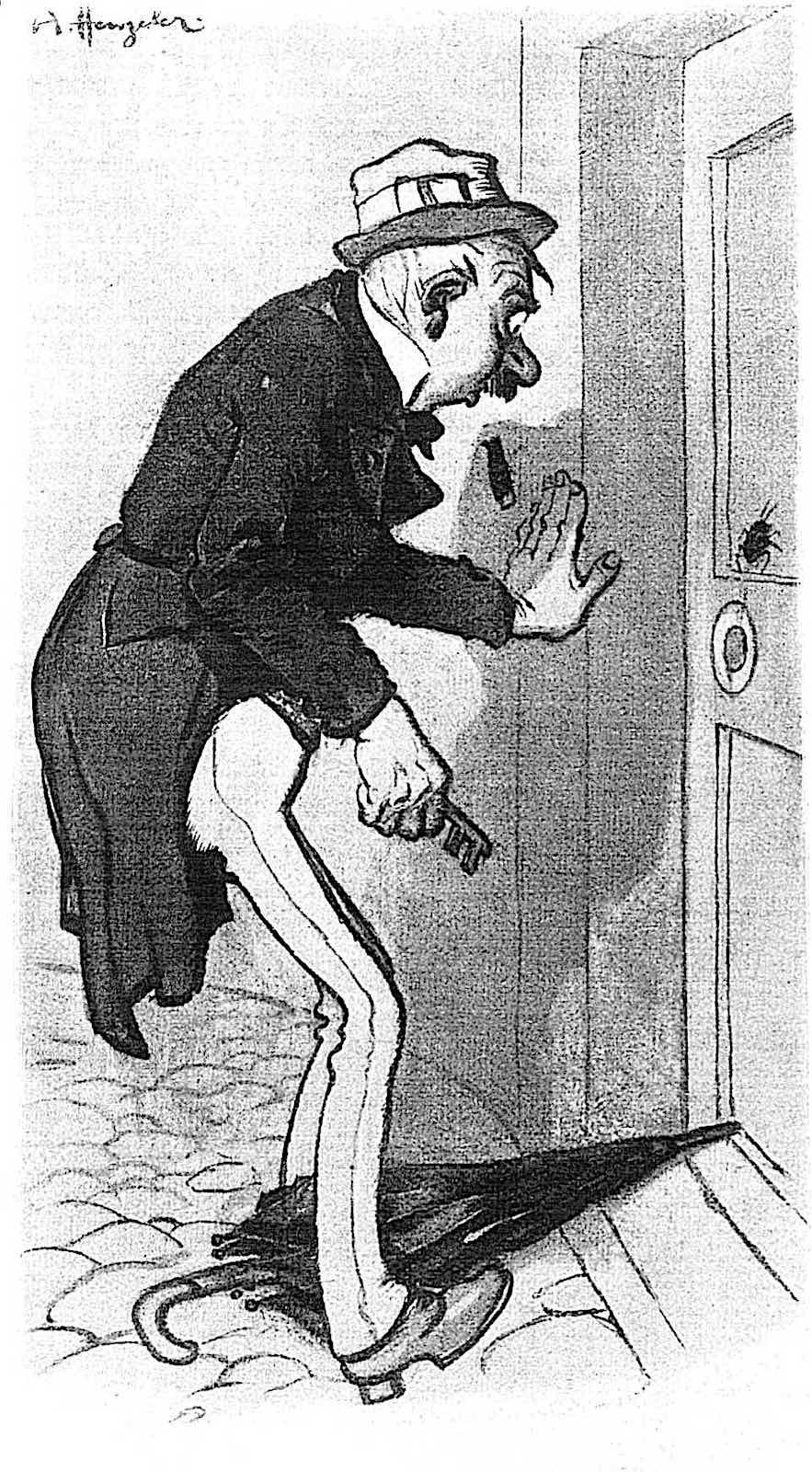 an Adolf Hengeler cartoon about apartment cockroaches, profile