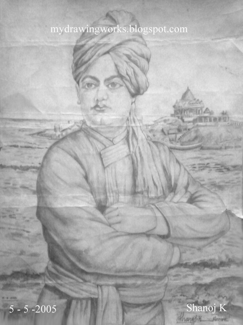 Swami vivekananda pencil drawing