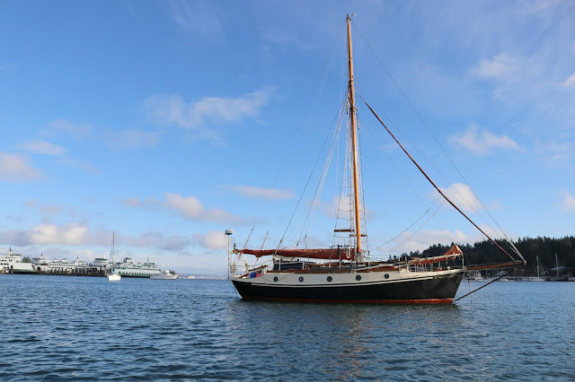 The boat anchored in Eagle Harbor.