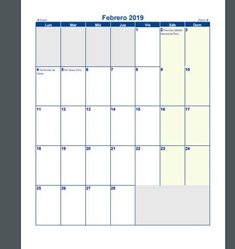 Calendarios 2019 de perú en PDF por meses con feriados y días festivos
