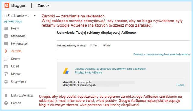 Zarabianie na reklamach AdSense (na platformie Blogger).