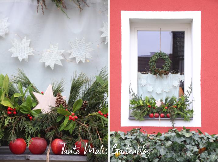 Pflanzkästen weihnachtlich dekoriert