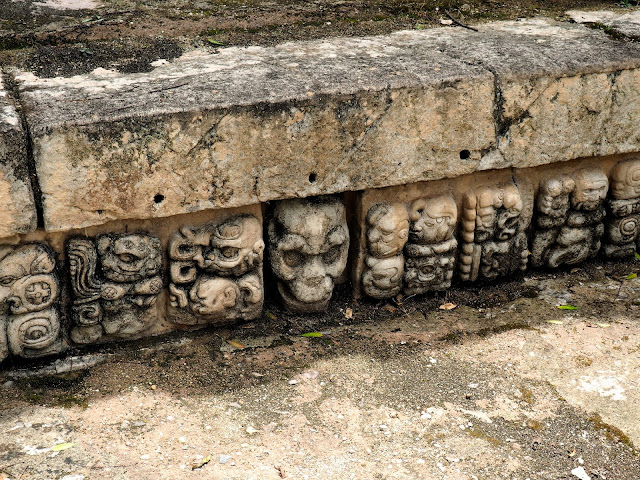 Details of stone Mayan carvings on the temple ruins outside Copan, Honduras