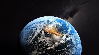 Mitad del planeta tierra desde el espacio