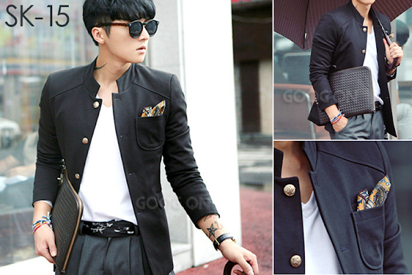 jas exclusive korean+style+ +black+blazer+jacket+%28sk 15%29