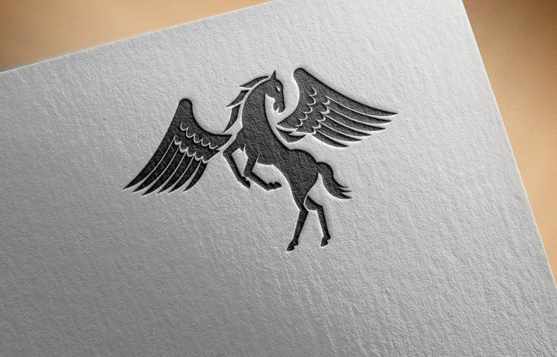 Download Free Black horse with wings standing Logo for Business