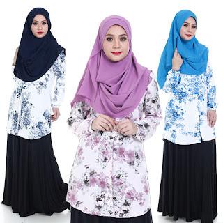Blouse Floral Tisya Plus Size Saiz M L XL 2XL 3XL