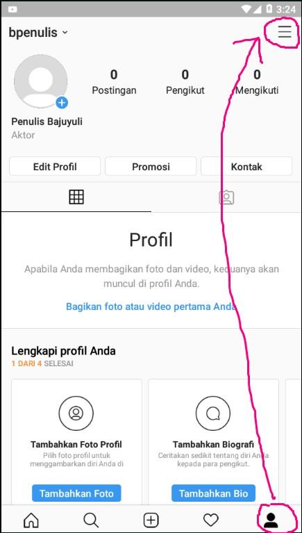 Menu Lainnya Pada Halaman Profile Aplikasi Instagram di Smartphone.