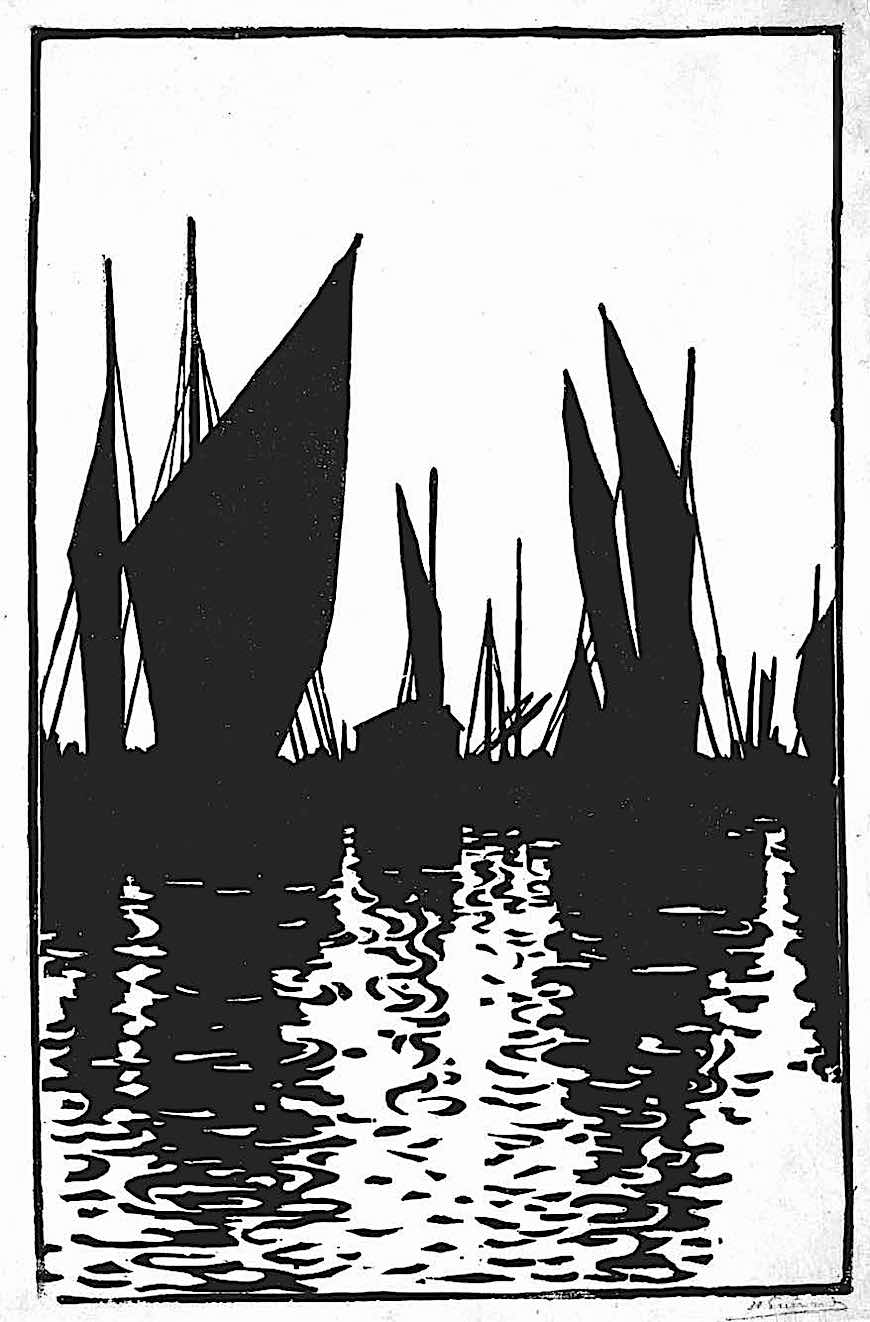 a Henri Guerard print of sailboats in silhouette, 1800s