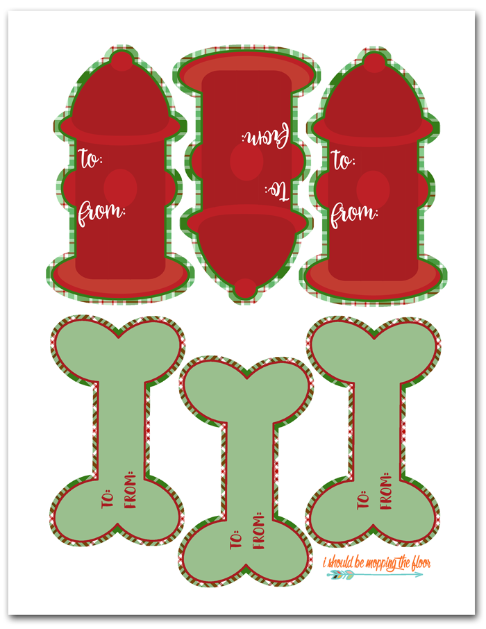 Free Printable Dog Gift Tags | Fun fire hydrant and bone shaped holiday gift tags for dogs. Free and instant download.