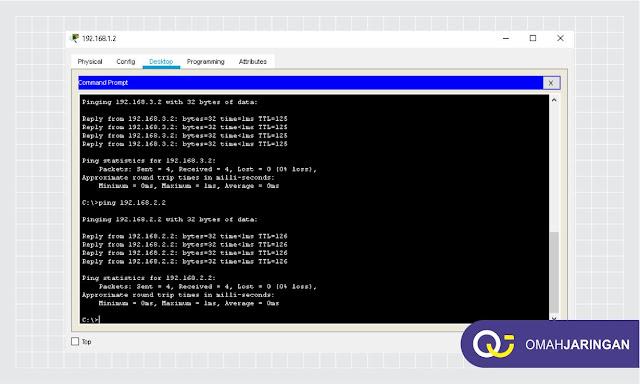 Ping PC 1 ke PC lainya yang berbeda Network Terhubung Routing OSPF