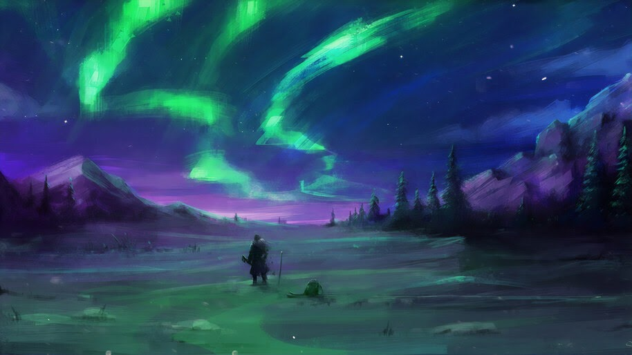 Aurora Borealis, Night, Sky, Digital Art, Scenery, 4K, #6.1058