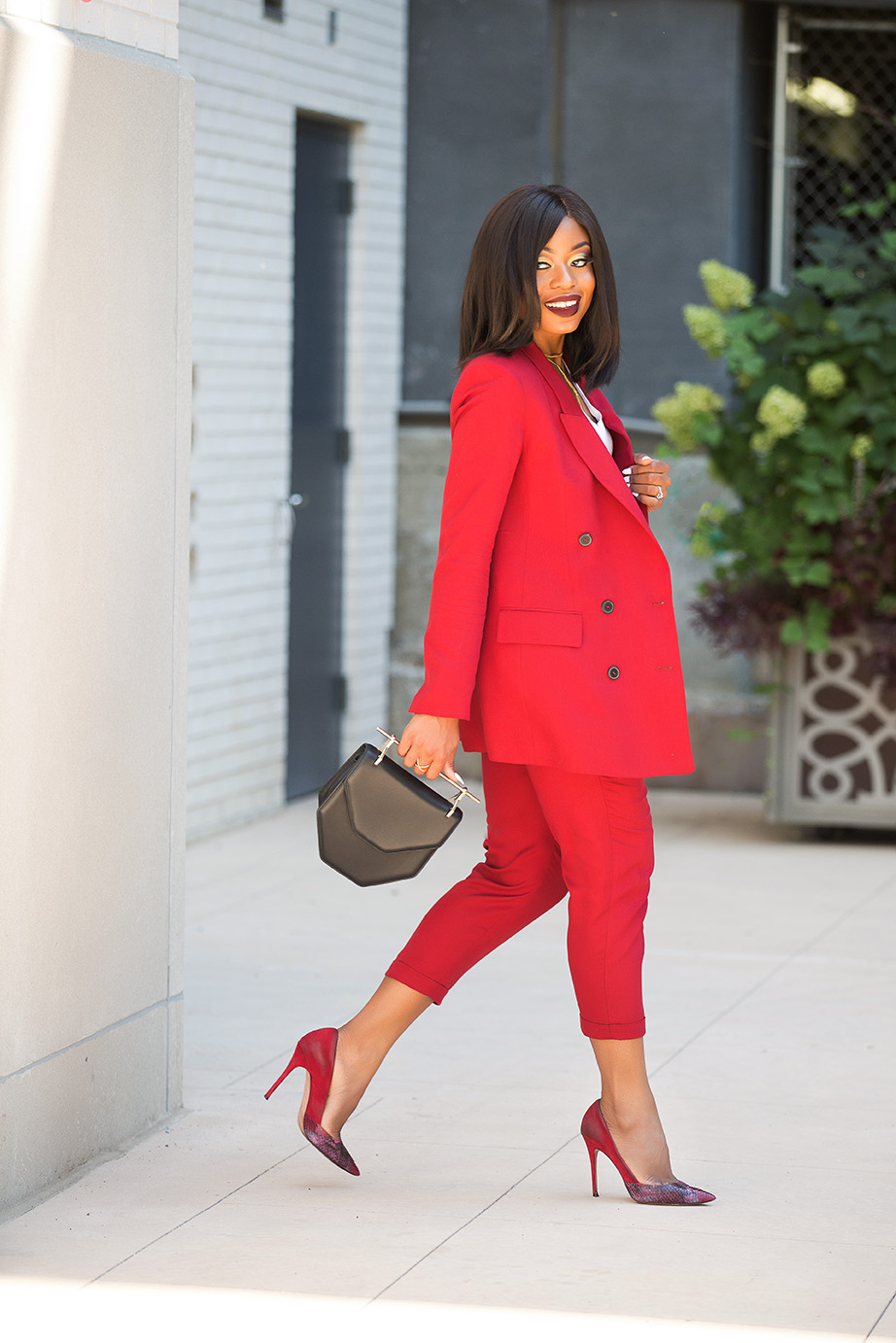 fall work style, red suit, www.jadore-fashion.com