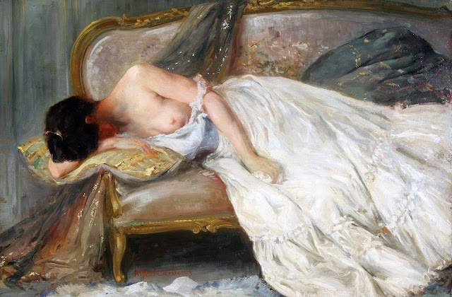 Alfred Stevens - Reclining  Partial Nude