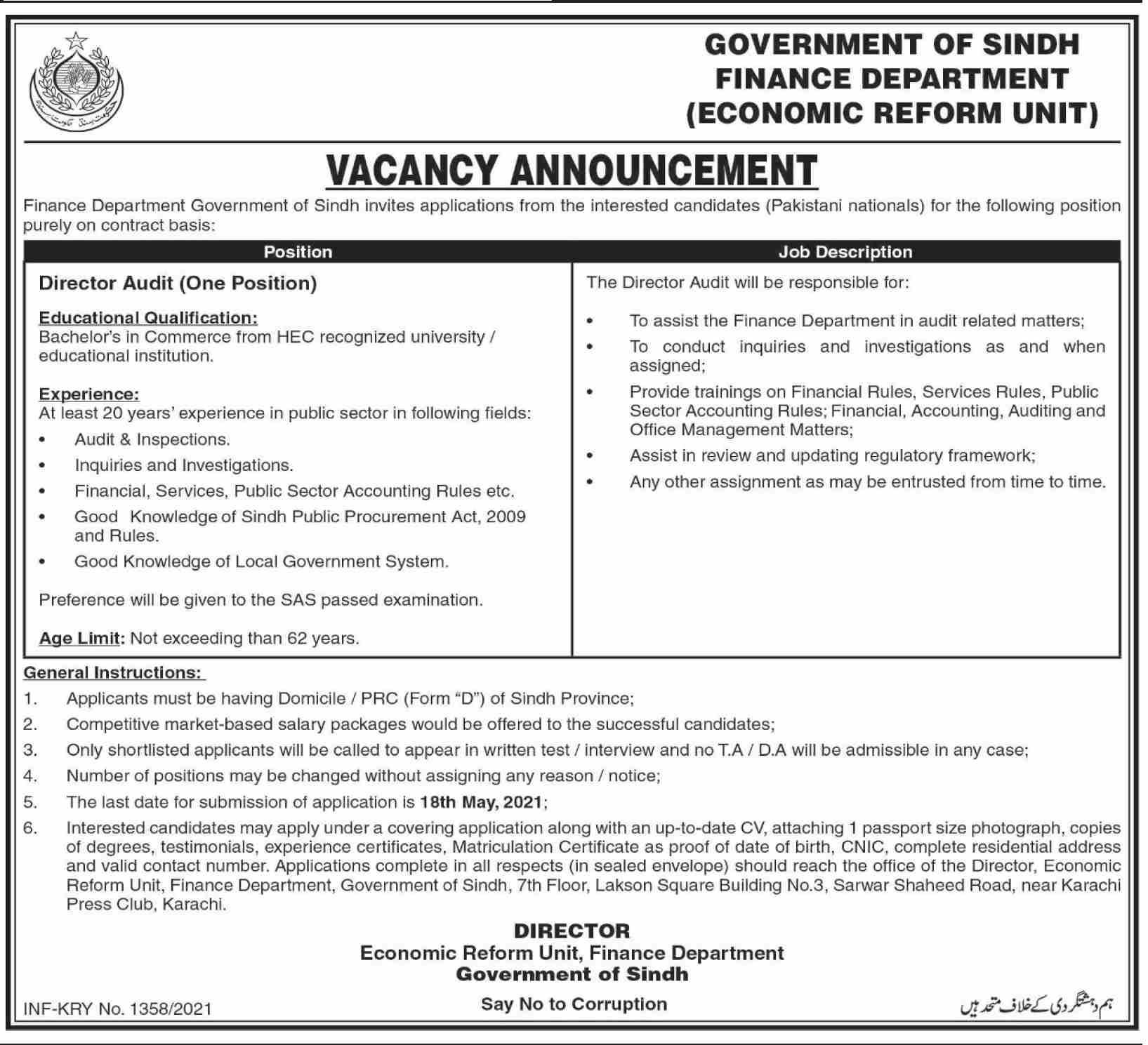 Sindh Finance Department (Economic Reform Unit) Jobs 2021 in Pakistan