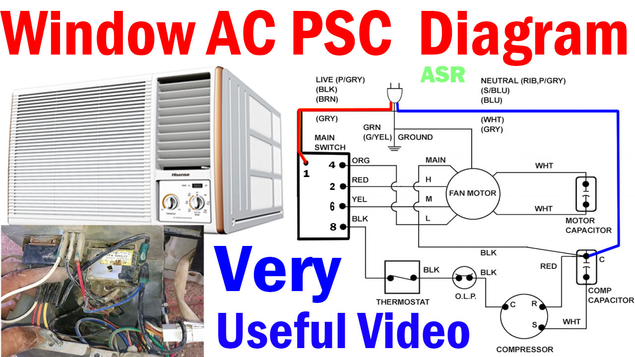 window ac psc wiring diagram capacitor selector switch blower motor 6 wire connection learn with practically in hindi very useful video for learning new  [ 1280 x 720 Pixel ]