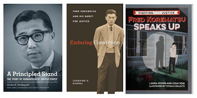 3 book jackets - photos of Hirabayashi and Korematsu, drawing of Korematsu as a boy