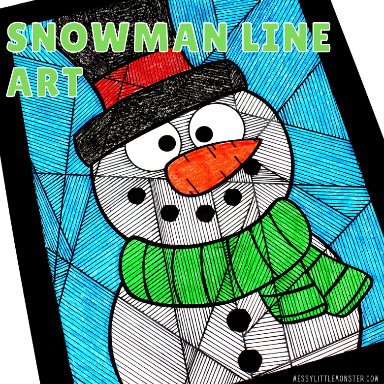 snowman colouring page line art winter craft for kids