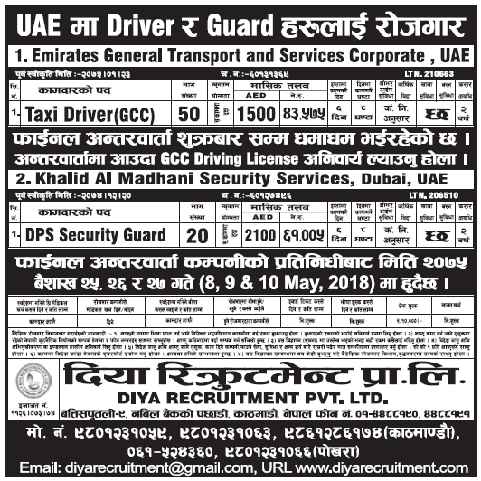 Jobs in Dubai for Nepali, Salary Rs 61,005