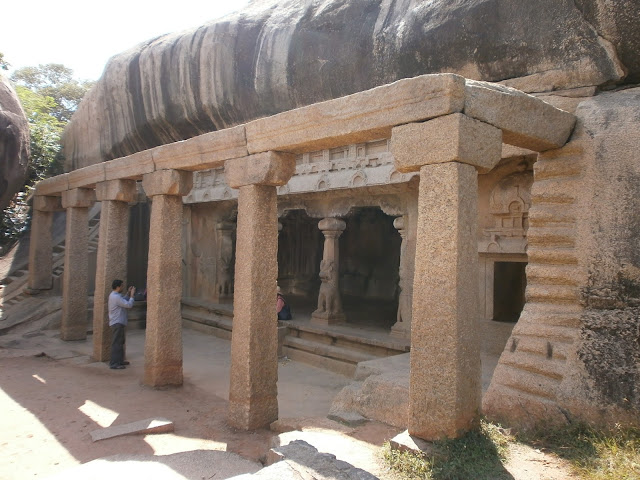 6th century cave temple with stone sculptures in Mahabalipuram India