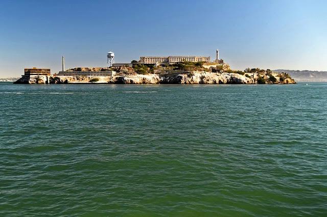 Landscape coast and old prison building at Alcatraz Island