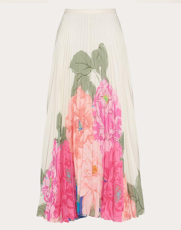 Faldas de Valentino estampadas de crêpe de China