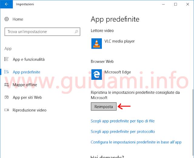 Impostazioni App predefinite Windows 10