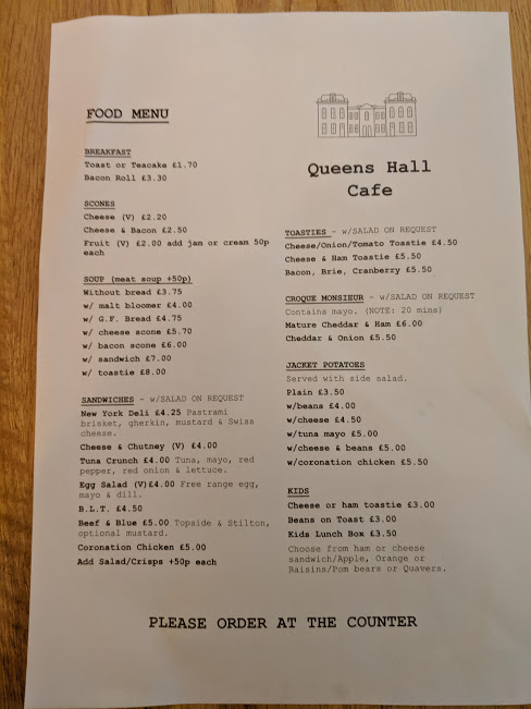 A Viking Christmas Review & Tips  - Queens Hall Cafe Menu