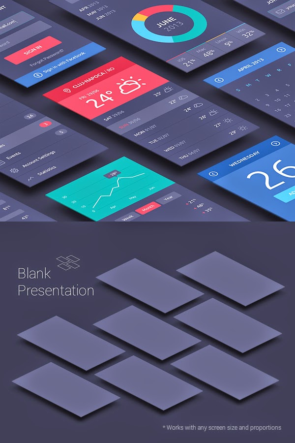 Perspective App Screens Mock-Up PSD