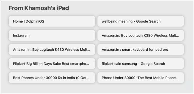 علامات تبويب iCloud في صفحة بداية Safari
