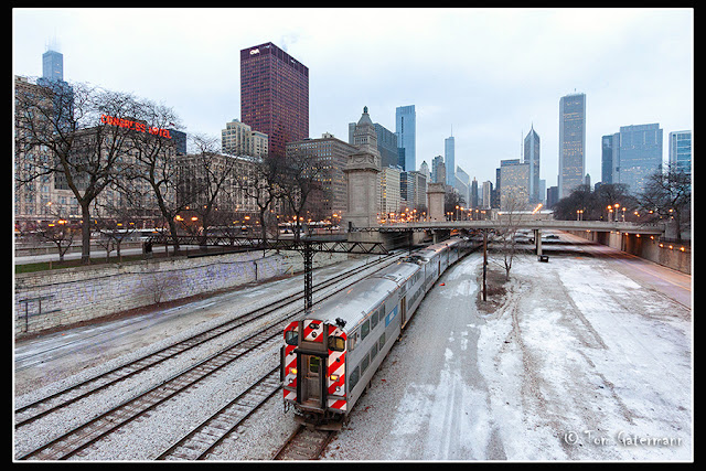 Metra Train 756 north of Harrison Street in downtown Chicago.