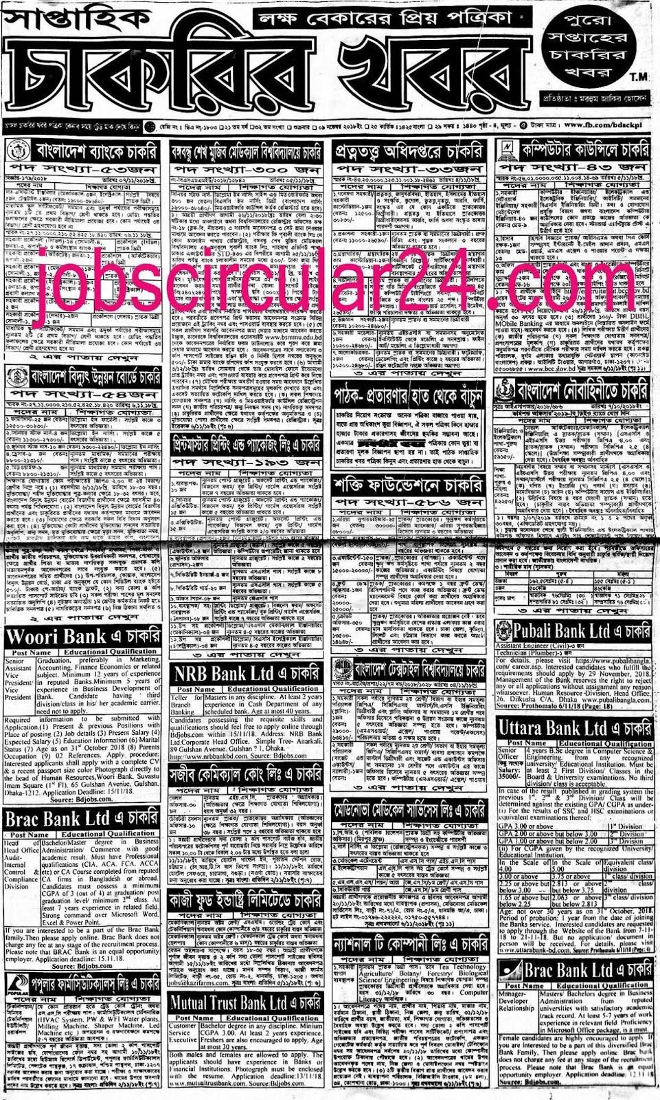 Saptahik Chakrir News Khobor Potrika Weekly BD Jobs Circular 2018