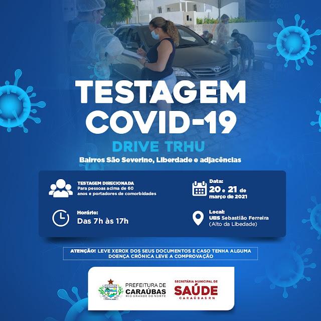 Prefeitura de Caraúbas realizará Drive-Thru Direcionado contra Covid-19 para moradores do Alto São Severino e adjacência