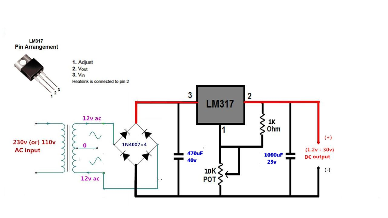 diy lm317 how to make adjustable 1 5v 32v dc voltage regulator using lm317 low cost [ 1281 x 720 Pixel ]