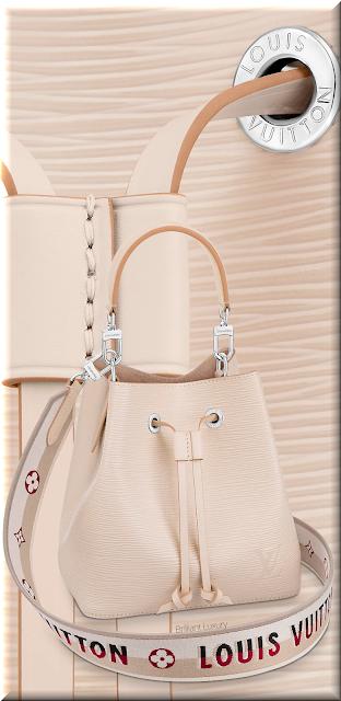 Louis Vuitton NéoNoé BB bucket bag in quartz with embroidered Jacquard strap #bags #louisvuitton #brilliantluxury