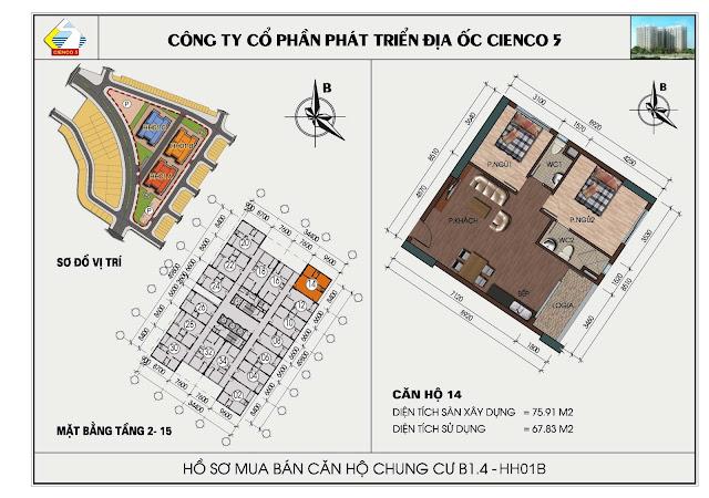 sơ đồ căn hộ chung cư B1.4 căn 14 tòa HH01B