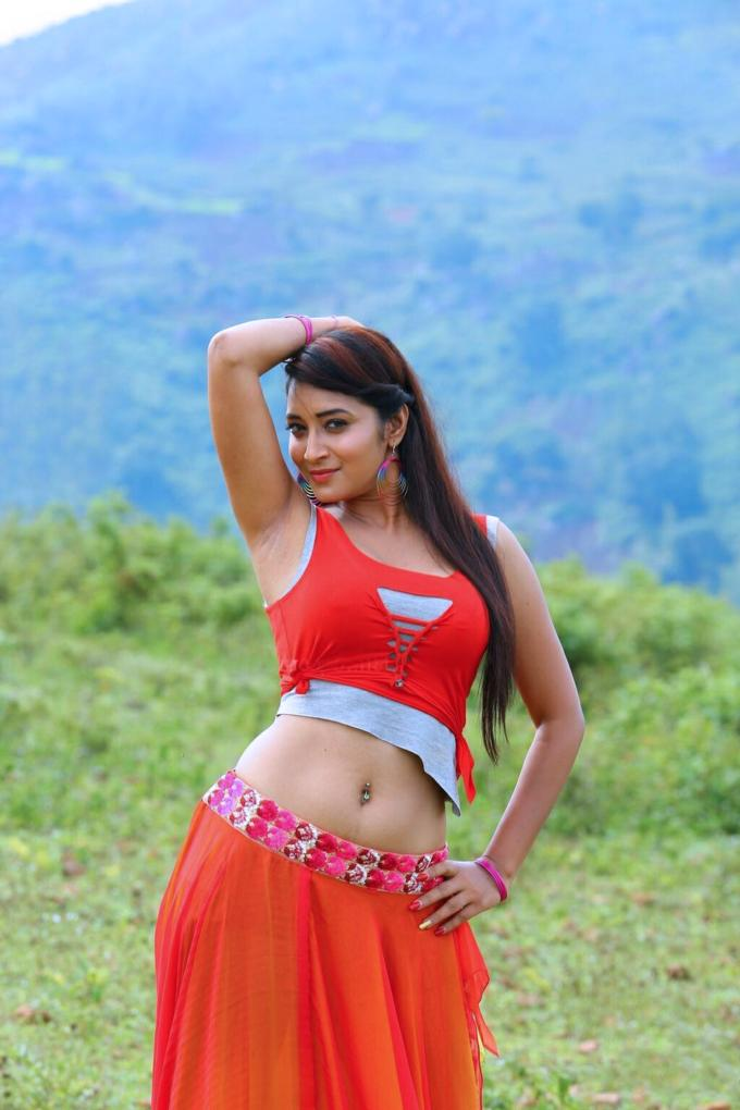 Bhanu Sree Navel Hip Stills In Red Lehenga Choli