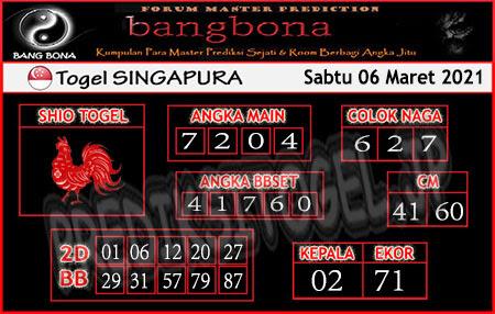 Prediksi Togel Bangbona Singapura Sabtu 06 Maret 2021