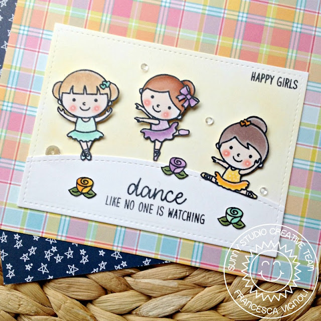 Sunny Studio Stamps: Tiny Dancers Happy Ballerina Card by Franci Vignoli
