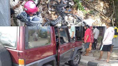 Kecelakaan Antara Mobil dan Motor di Jendral Sudirman Parepare