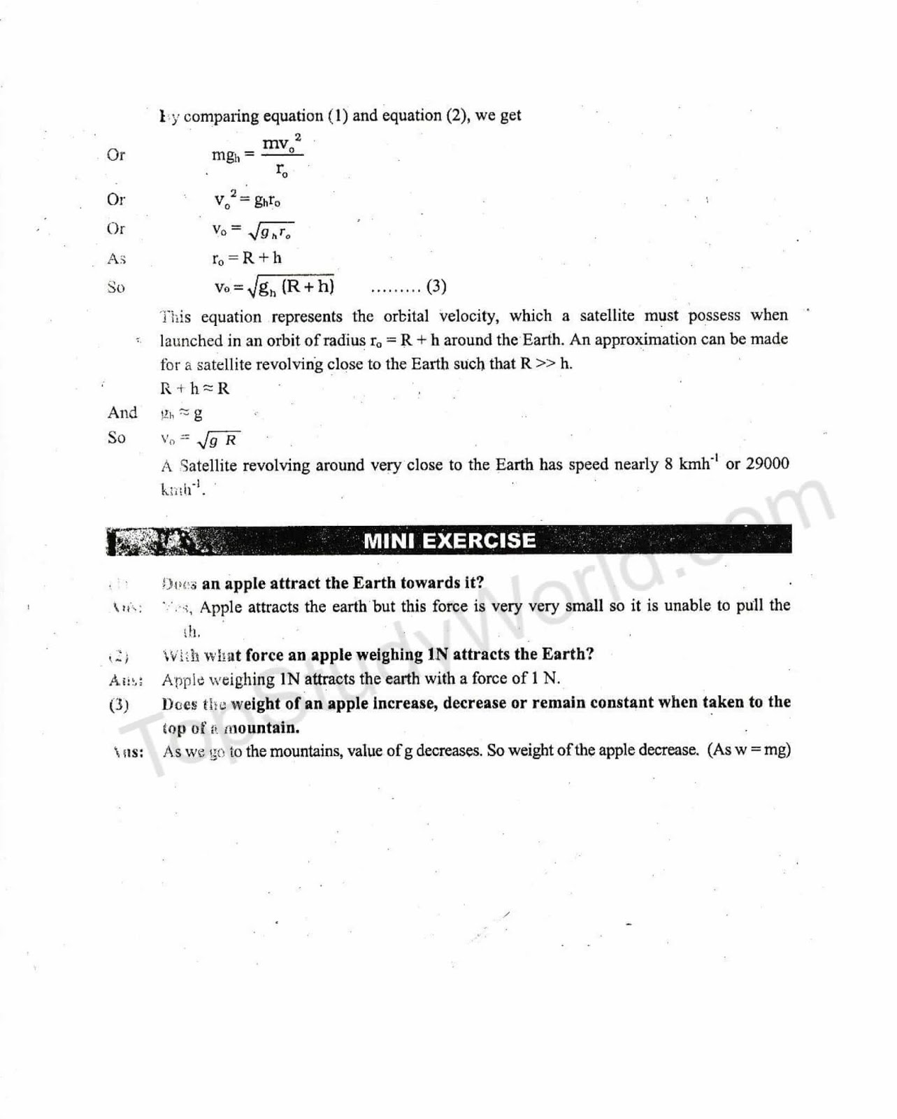KIPS 9th Class Physics Notes for Ch# 5 Gravitational (With PDF